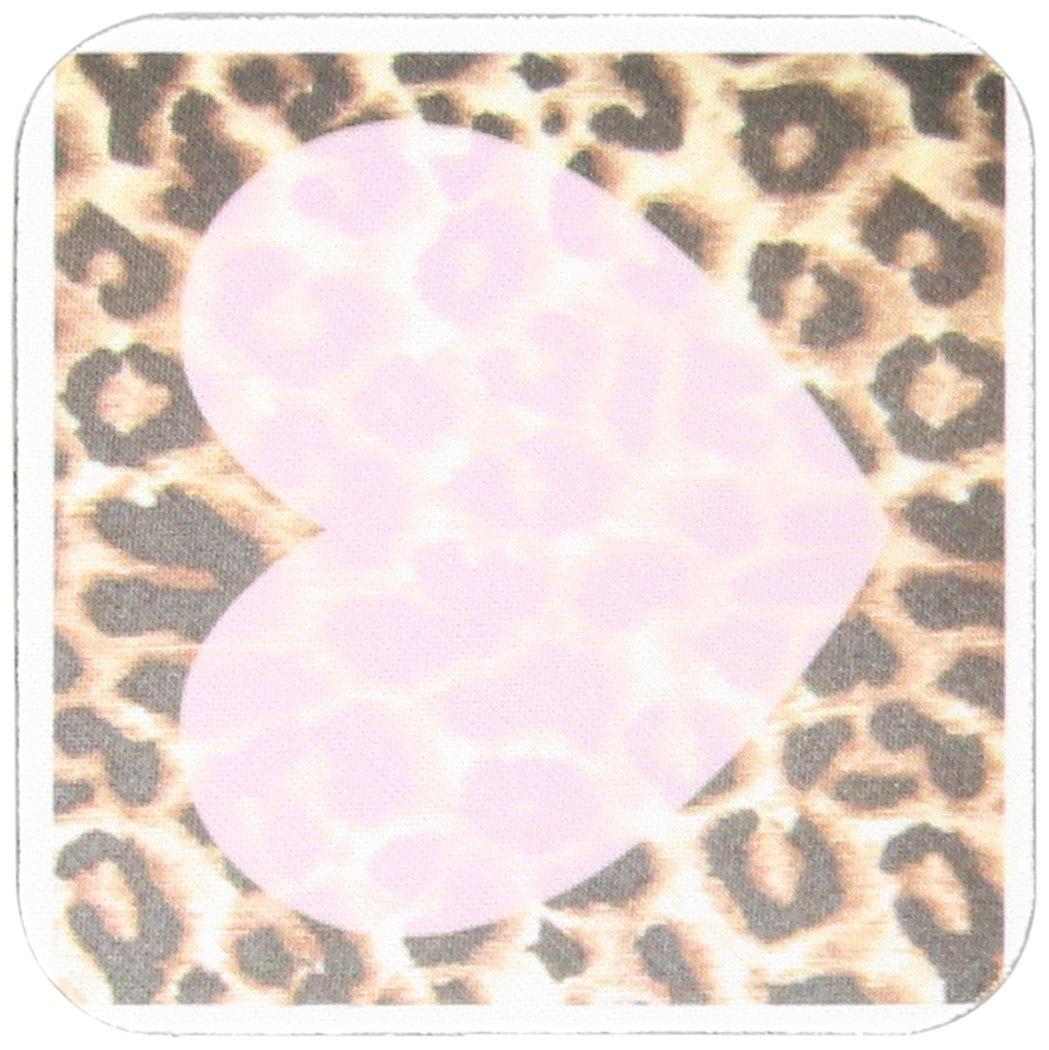 3dRose cst_30875_3 Love Pink Heart Leopard Print Animal Prints-Ceramic Tile Coasters, Set of 4