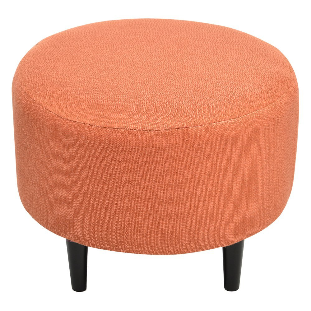 Sole Designs Candice Series Sophia Collection Round Upholstered Ottoman with Espresso Leg Finish, Orange Pumpkin