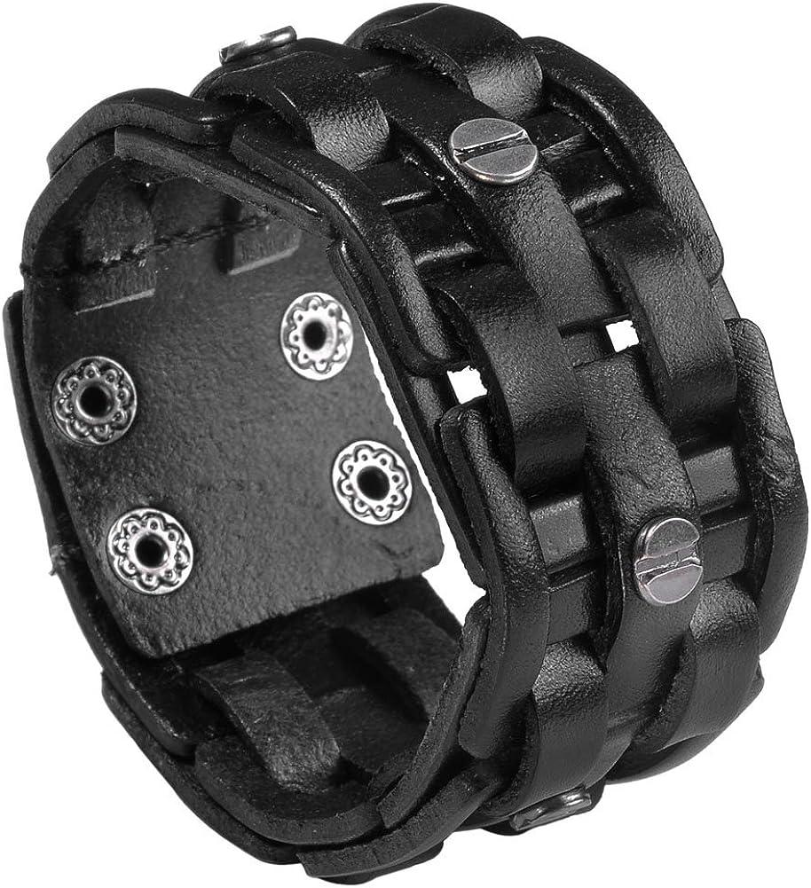 Multilayer Vintage Hand-Watt Bracelet Punk Personality Studs Leather Bracelet Leather Bracelet Mens Bracelet