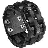 "Zysta Punk Gothic Mens Genuine Leather Braided Bracelet Wristband Cuff Bangle 8.5-9"" Black/ Brown"