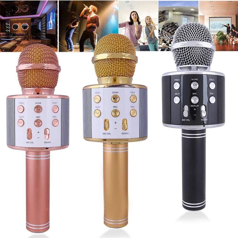 MICROFONO INALAMBRICO Bluetooth GRABADORA Ideal para Cantar Ranura USB Tarjeta TF Radio FM WS858