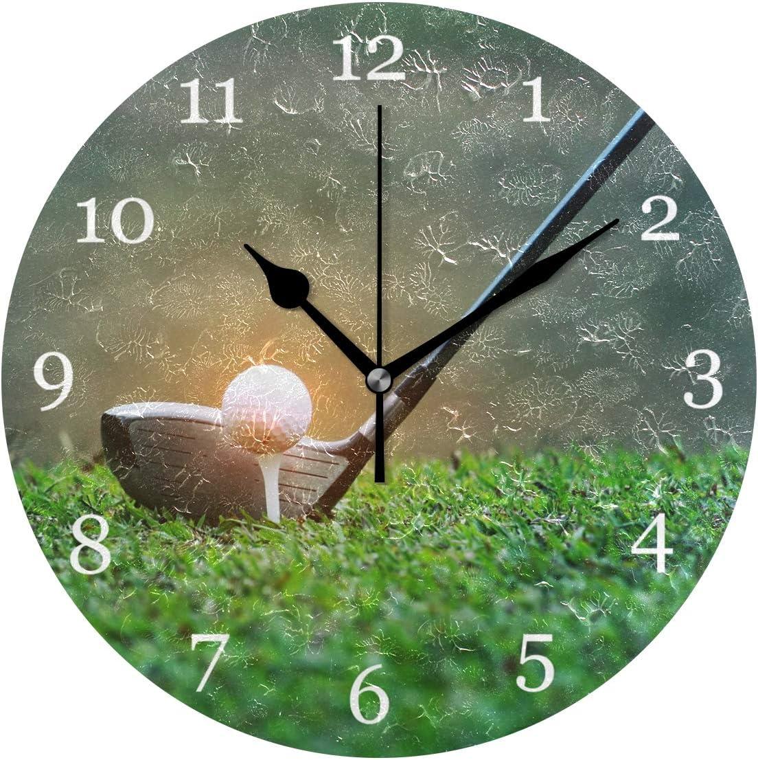 KUWT Sport Golf Ball Club Wall Clock Silent Non-Ticking 9.5 Inch Round Clock Acrylic Art Painting Home Office School Decor
