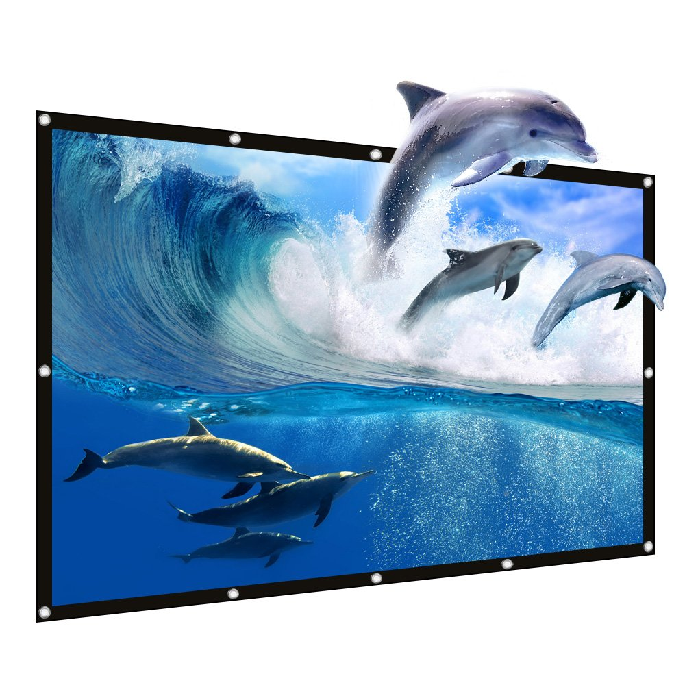 JIAQUAN 100'' Outdoor Projector Screen,16:9 HD Foldable Anti-Crease Portable Outdoor Indoor Front Movies Screen for Home Theater Support Camping and Recreational Events Double Sided Projection