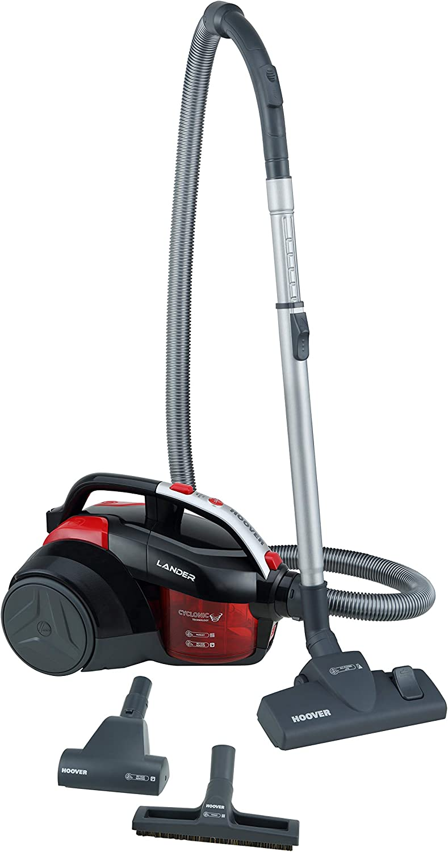Hoover Lander La30 Aspirador trineo sin bolsa con filtro EPA, con accesorios especiales para parquet y mascotas, tecnología ciclónica, 700 W, 1.2 litros, 78 Decibelios, Negro