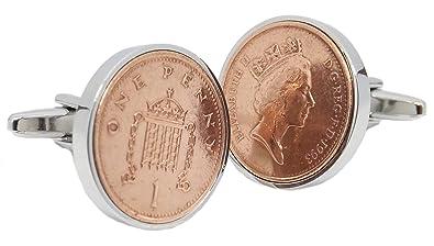 Cufflinks Direct 1993 England British UK 1p Penny Coins Set