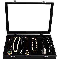 Kurtzy Svart Smyckesorganisatörslåda i Sammet Förvaringsuppvisning Fodralbricka med 20 Krokar och Låsbart Glaslock…