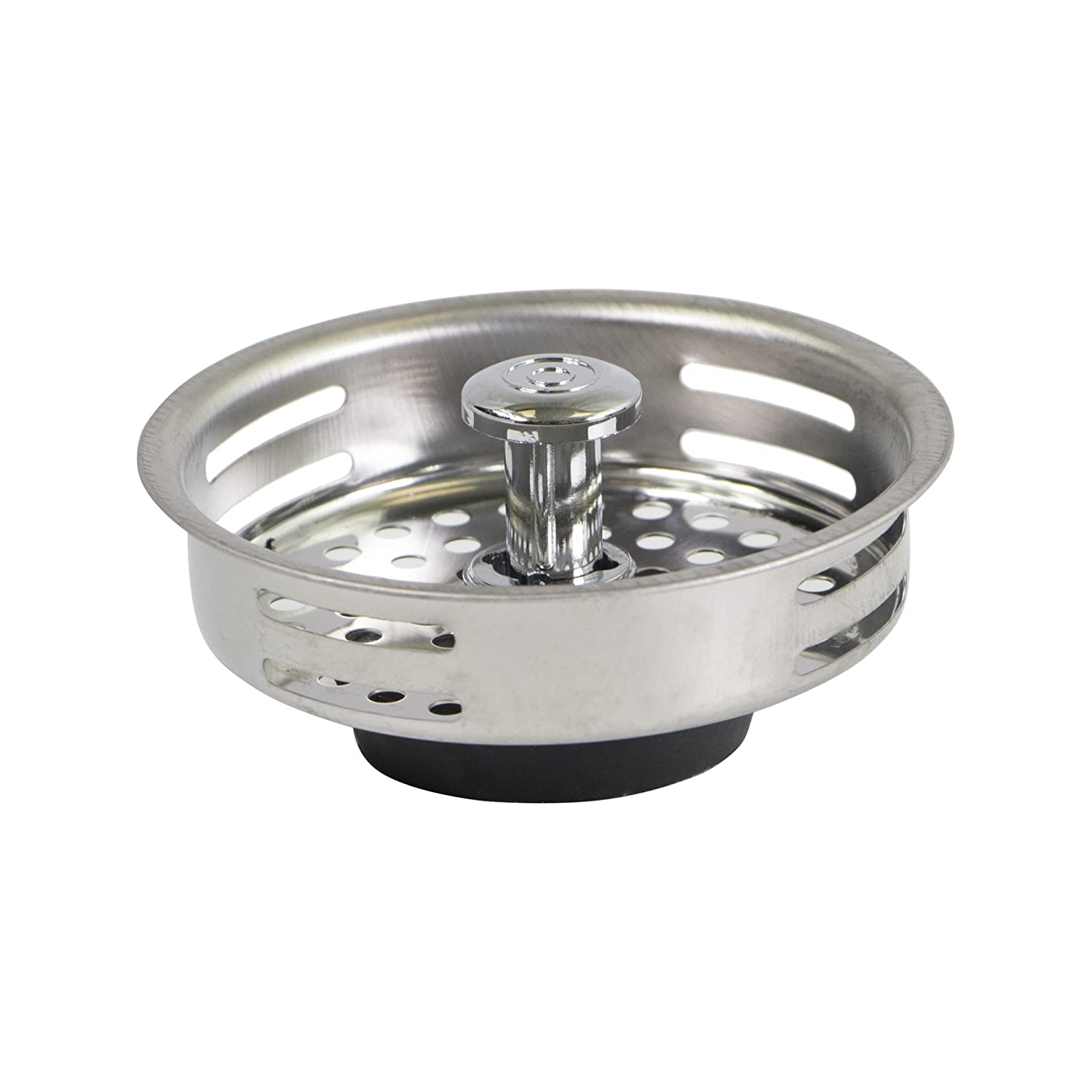 Everflow 7621 Stainless Steel Kitchen Sink Strainer Basket - Replacement for Standard Drains (3-1/2 Inch) - Universal Style Rubber Stopper
