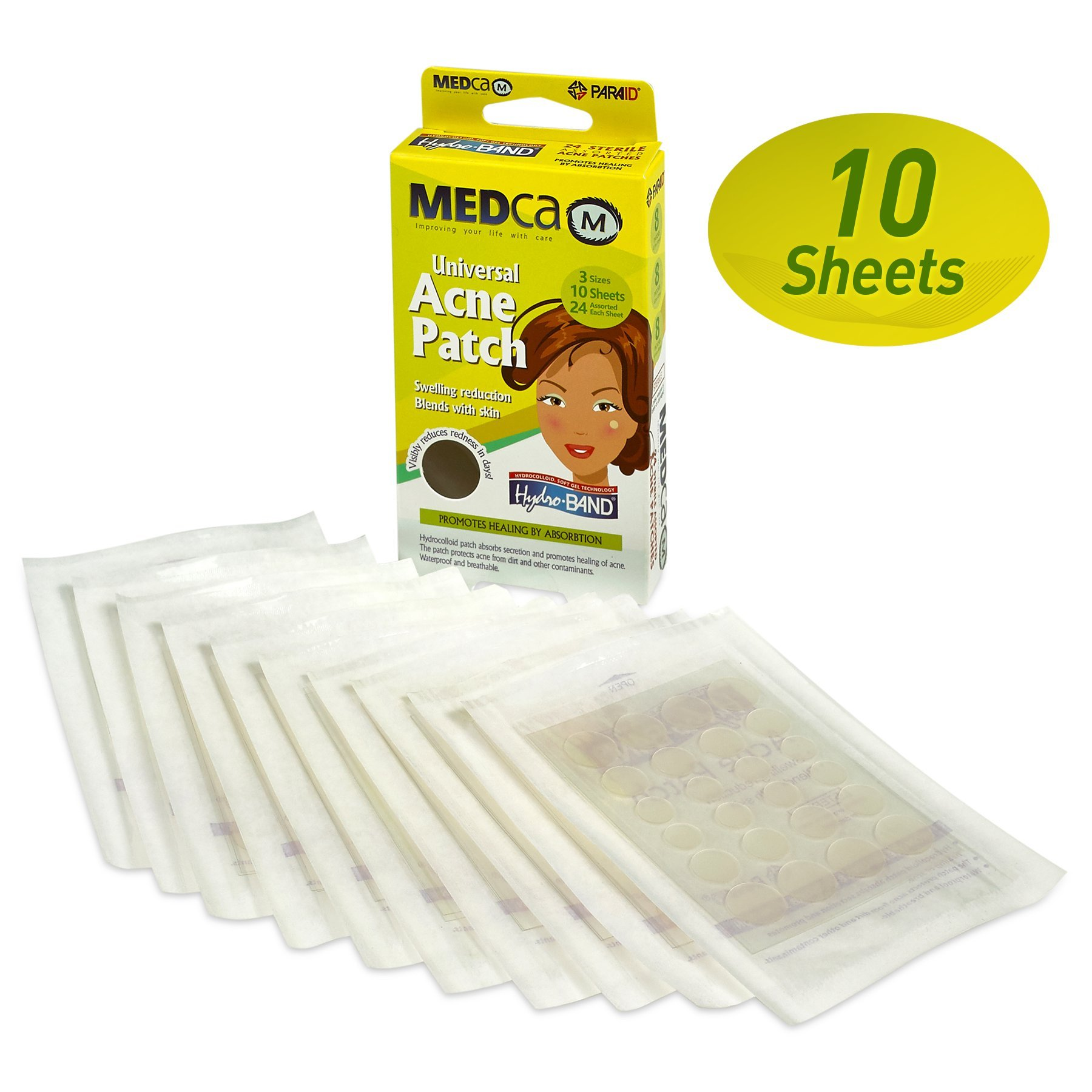 MEDca Acne Pimple Master Patch Absorbing Cover 24 Count Three Sizes 10 Sheets by MEDca