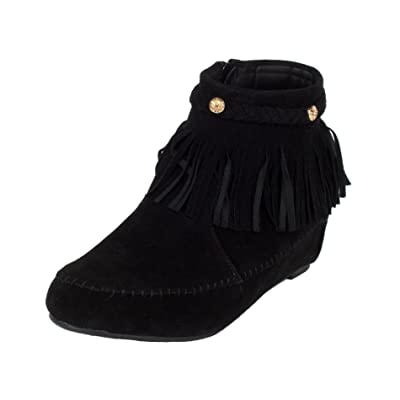 Bella Marie Campus-28 Womens Round Toe Moccasin Ankle High Faux Suede Boots | Ankle & Bootie