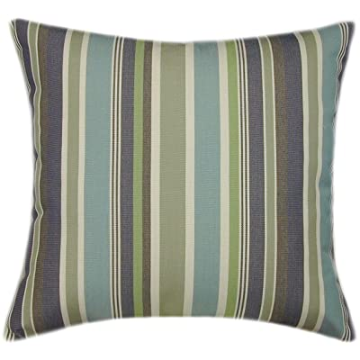 TPO Design Sunbrella Brannon Whisper Indoor/Outdoor Striped Patio Pillow 14x14 (Small): Home & Kitchen