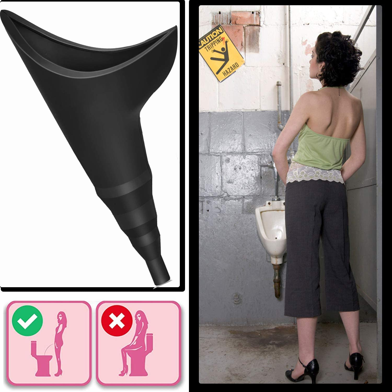 Lightweight Womens Pee Funnel for Outdoor Activities -with Drawstring Bag No Stress Reusable Compact No Mess Portable Foolproof Urinal Allows Women to Pee Standing Up Female Urination Device