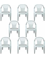 CrazyGadget Plastic Garden Low Back Chair Stackable Patio Outdoor Party Seat Chairs Picnic White Pack of 8