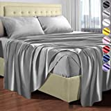 Satin Sheets Queen Size (4 Pieces, 8 Colors), Silky Satin Sheet Set -Satin Bed Set with 2 Pillowcase, Satin Fitted Sheet - Gr