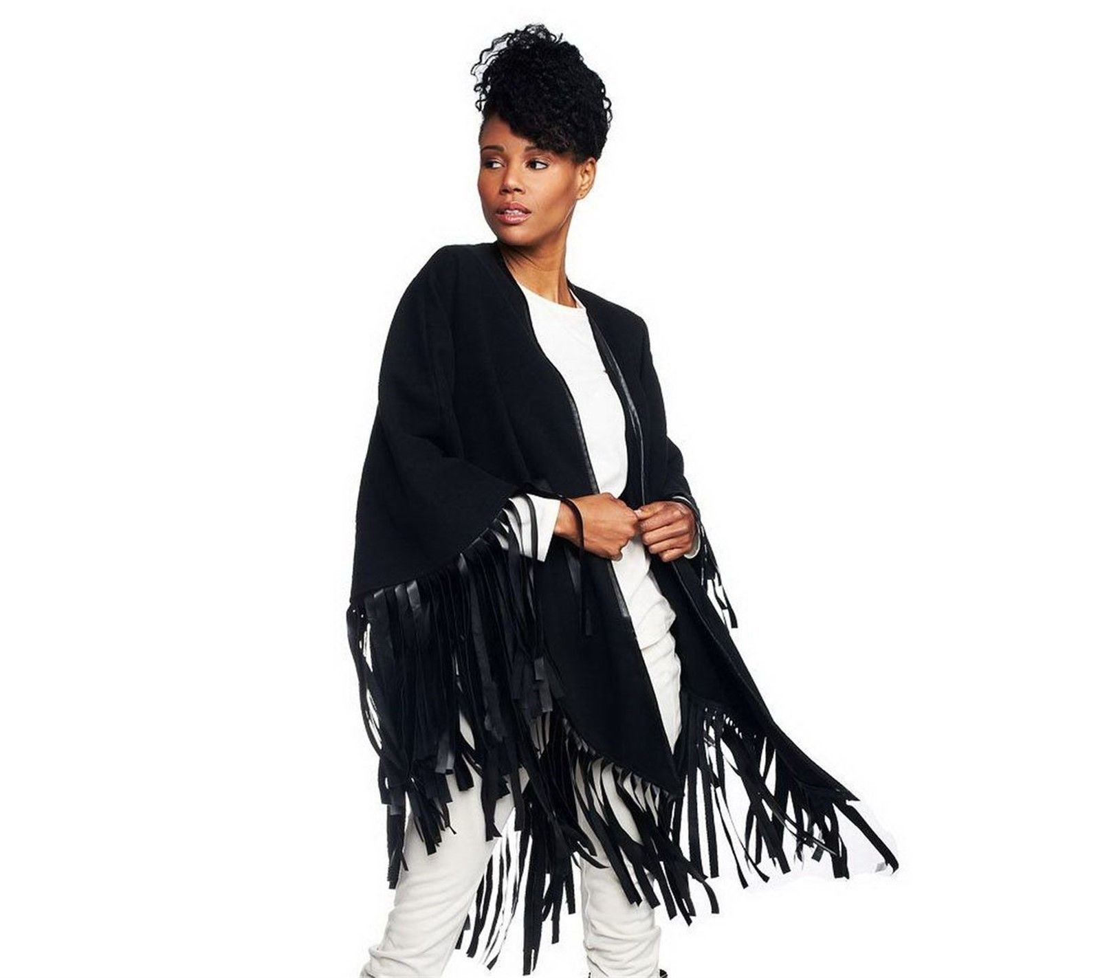 BurnOut VT Luxe Faux Wool Cape Fringe Trim Black Relaxed Fit Missy One Size New A228360