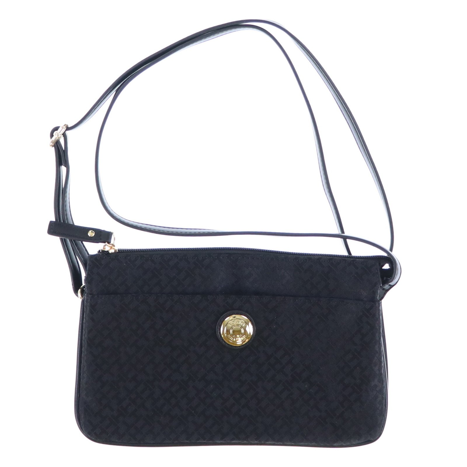 Tommy Hilfiger Womens Small Jacquard Crossbody Purse (Black)