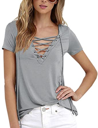 1f61624bac Imagine Women's Sexy Black Deep V Neck Lace Up Criss Cross Short Sleeve  Solid Tshirt Tee Tops(Plus Size)