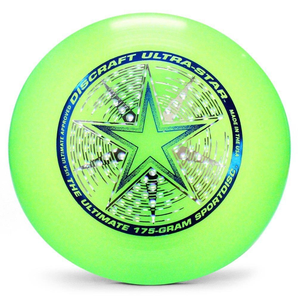Discraft Ultra-Star 175g Ultimate Disc + Free Mini Frisbee + Ultimate Disc Sticker (USA Ultimate Approved) - Green by Disc Store