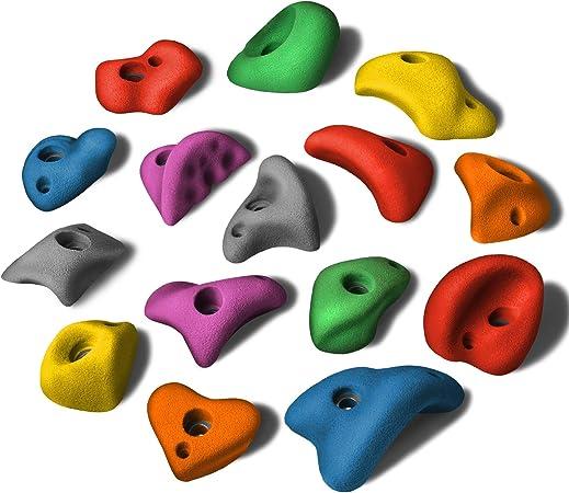 ALPIDEX 15 M/L Presas de Escalada en un Juego de Diferentes Formas, agarres pequeños Tipo cazo, apoyos para el pie, en Muchos Colores