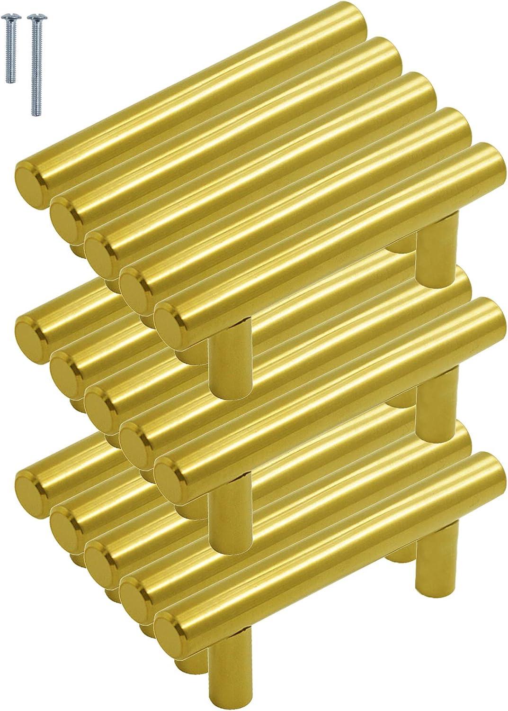 5in oro acero inoxidable Tiradores para puerta de cocina Probrico lat/ón dorado, mango de acero inoxidable, incluye tornillos Hole Centers:128mm Paquete de 5