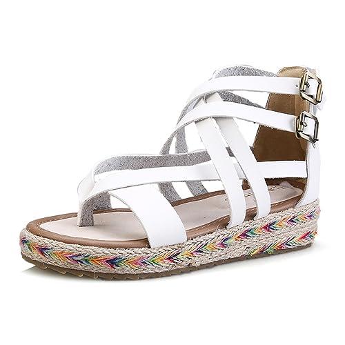 f364901aa gracosy Women s Summer Sandals Bohemia Beach Woven Heel Thong Flat Sandals  Flip Flops Thongs Low Wedge Heel Espadrille Sandals Anti Slip Platform  Ankle ...