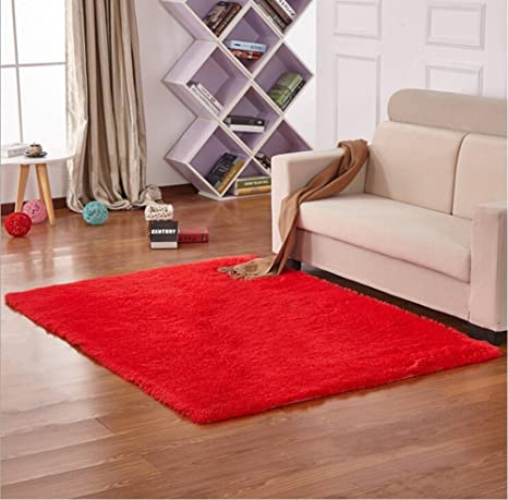 Yontree Cozy Shaggy Area Rugs Floor Rug Bedroom Carpet Fluffy Mat,Red