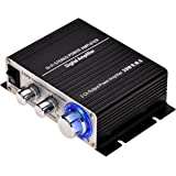 ONEU Mini Amplifier, 2 Channel Class D Stereo Amplifiers 2x20W, Hifi Subwoofer AMP with Blue LED Indicator High Power Amplifier DC 12V 3A Power Supply(Included)