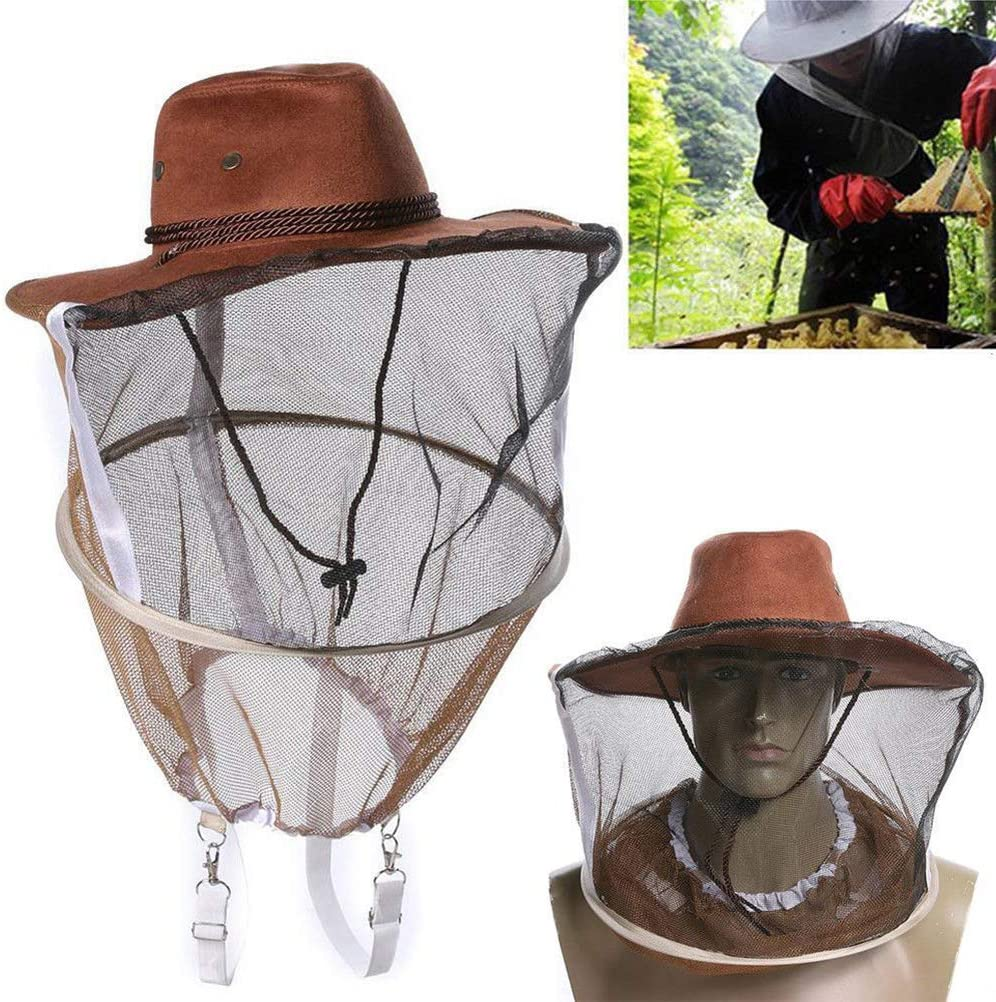 Beekeeping Fishing Cowboy Hat Mosquito Bee Insect Net Cap Face Head Protector/_RZ