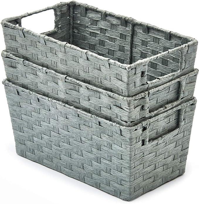 EZOWare 3 pcs Cestas de Almacenaje Multiuso, Cajas Organizadoras de Cuerda de Papel Natural con Efecto de Mimbre y Asas para Cocina, Baño - Gris, 30 x 17 x 14 cm: Amazon.es: Hogar