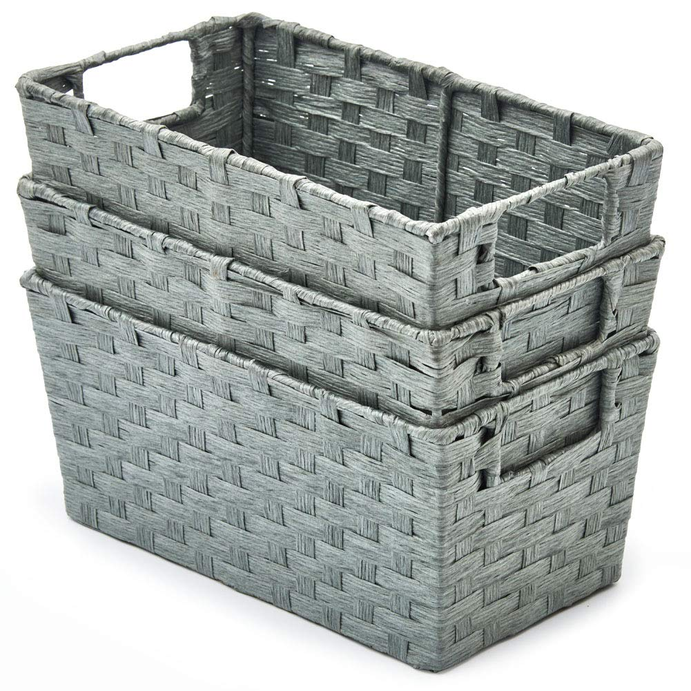 EZOWare Pack of 3 Paper Rope Woven Storage Baskets, Multipurpose Organizer Bins with Handles Perfect for Storing Small Household Item - Gray