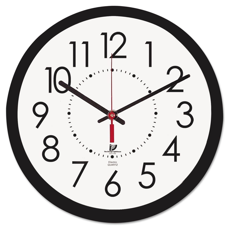 Electric Contemporary Clock, 14-1/2, Black 14-1/2