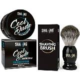Shaving Station Cool Dude Shaving Cream - 200ml - No Parabens - No Sulphates - with Shaving Station's Shaving Brush