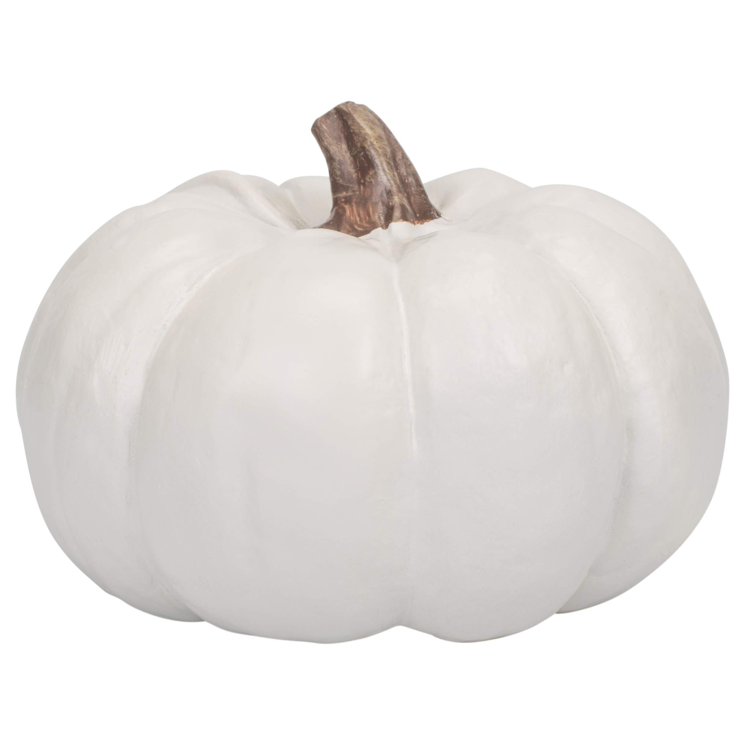 Elanze Designs Ivory 6 inch Decorative Resin Harvest Pumpkins (White), Quantity 1