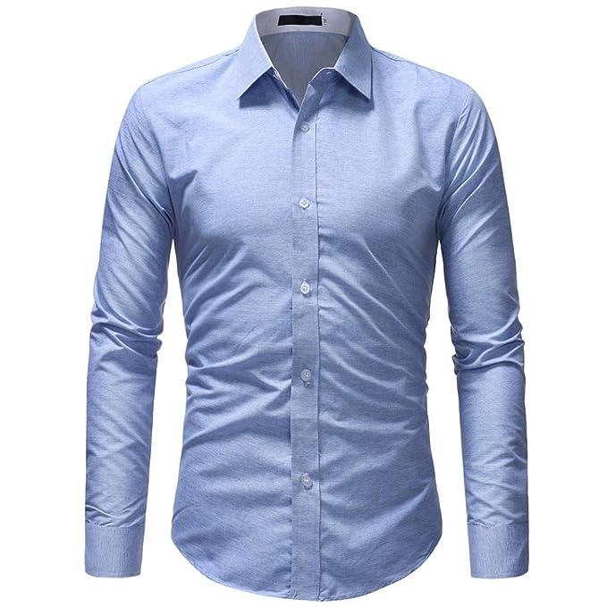 Hffan Herren-Hemd Basic Monochrom Grau Khaki Blau Langarm-Hemd Slim-Fit Für 2dec4ab44d