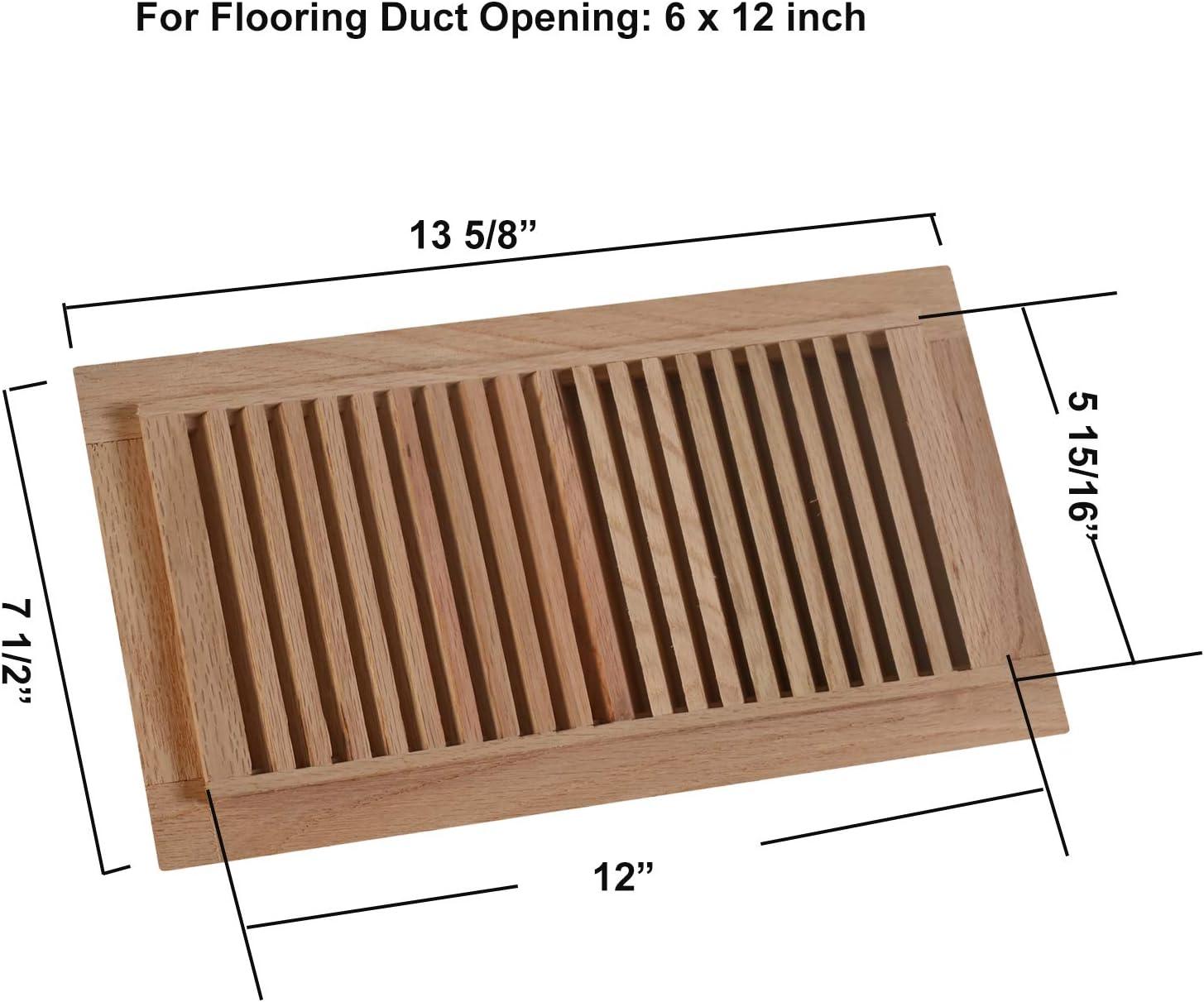 WELLAND 2 Inch X 10 Inch Red Oak Hardwood Vent Floor Register Self Rimming Unfinished