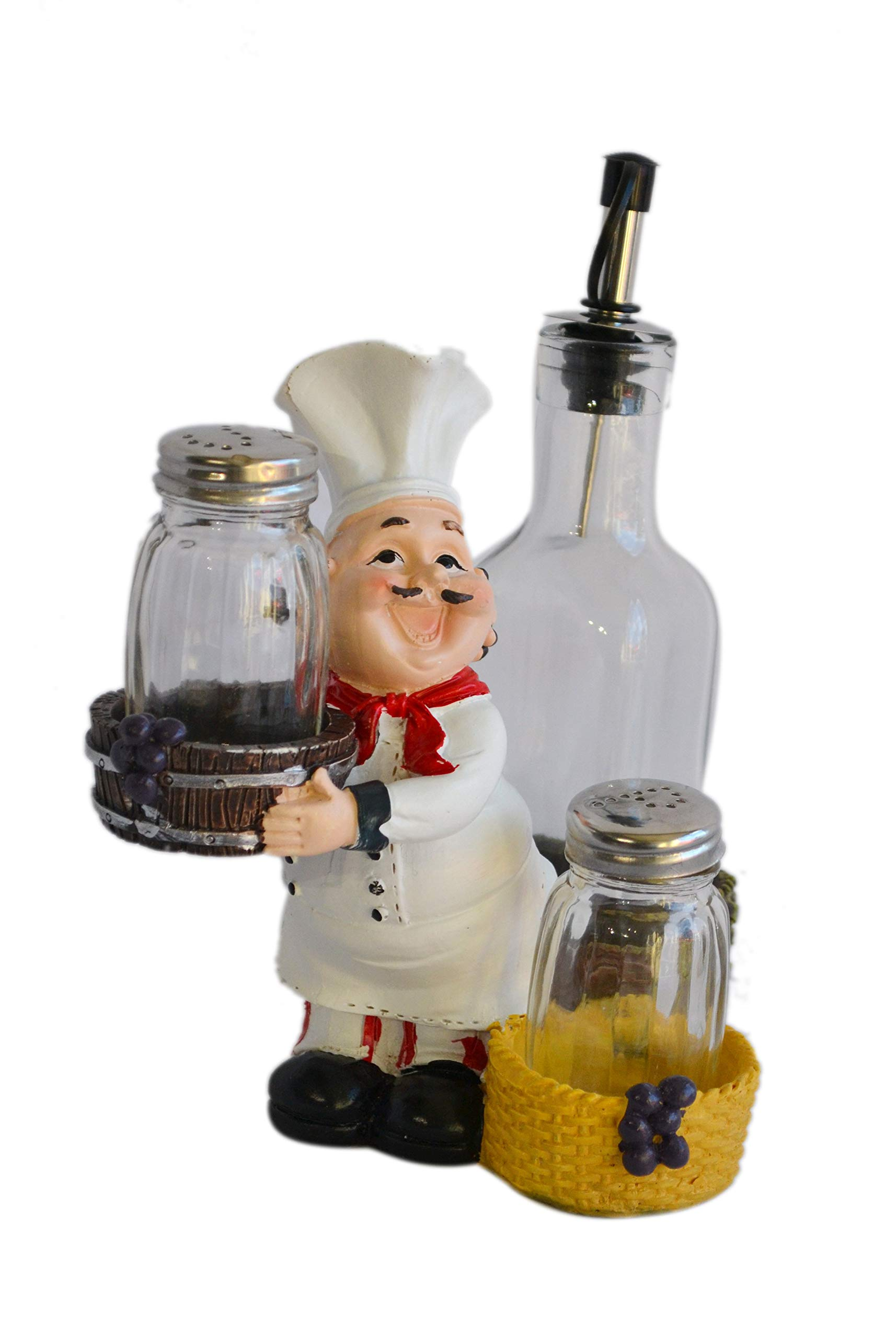 Chef With Resin & Glass Salt Pepper Shakers And Oil Holder Figurine by My Aashis (Image #1)