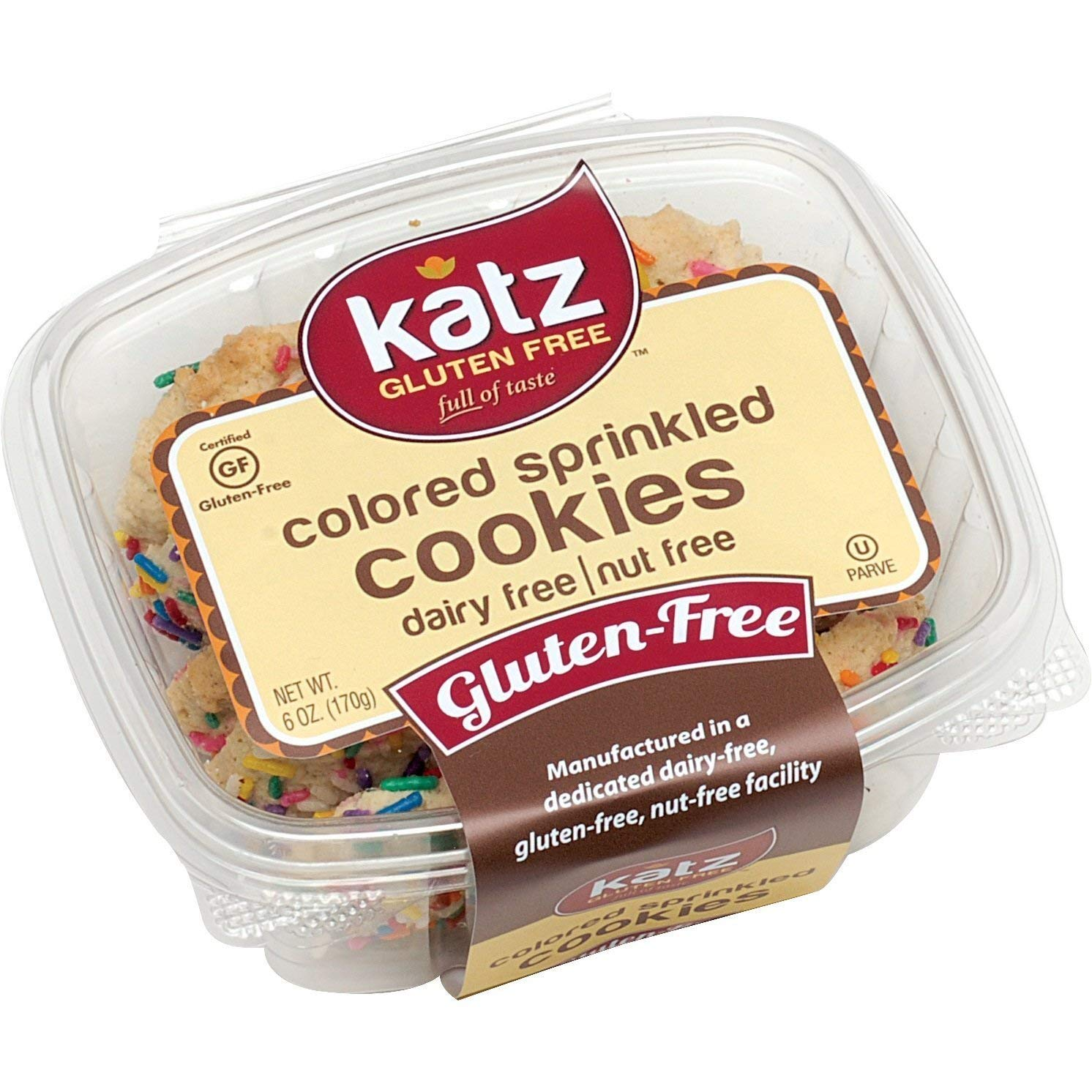Katz Gluten Free Colored Sprinkle Cookies | Dairy, Nut and Gluten Free | Kosher (6 Packs, 6 Ounce Each) by Katz Gluten Free