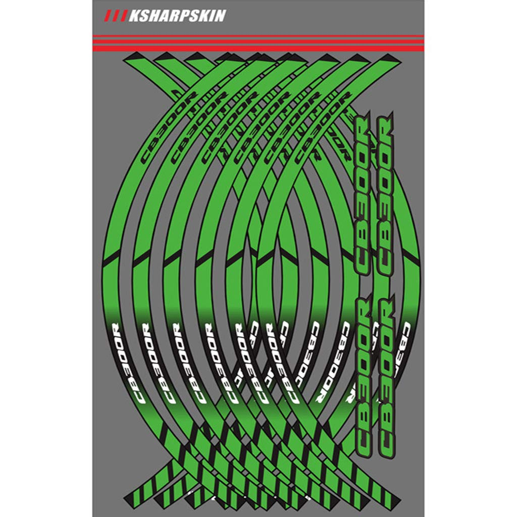Amazon com motorcycle wheel rim decals wheel reflective stickers stripes for honda hornet green automotive