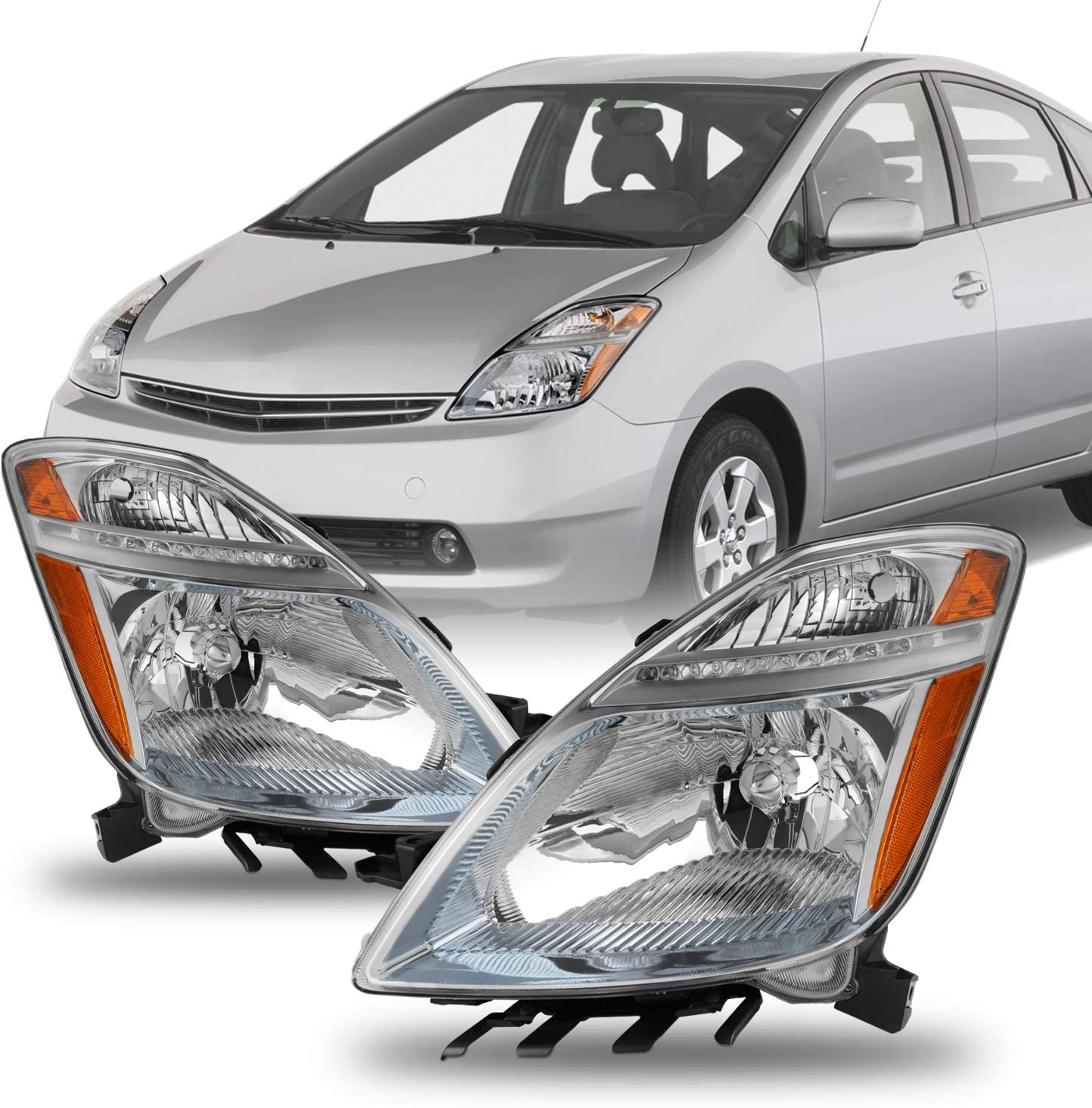 [AKKON] For 2006-2009 Toyota Prius Hybrid OE Style Chrome Headlights Driver Left Side Assembly