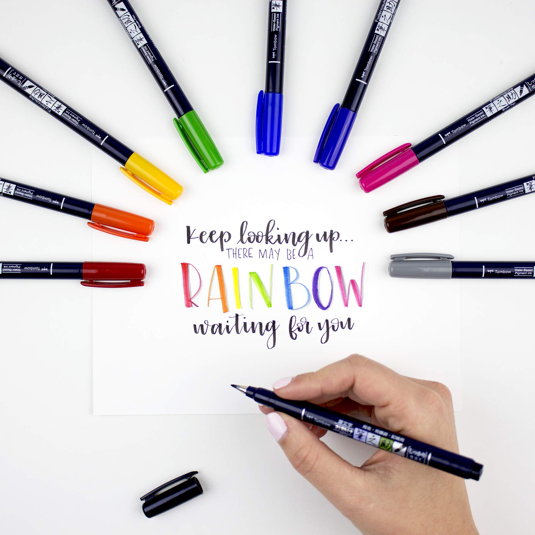 Tombow 56429 Fudenosuke Color Brush Pen, 10-Pack. Hard Tip Fudenosuke Brush Pens in Assorted Colors for Calligraphy and Art Drawings by Tombow (Image #7)