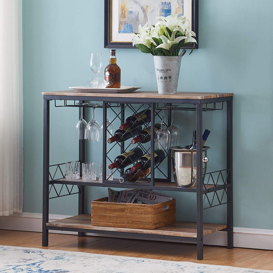 O&K Furniture Industrial Wine Rack Table with Glass Holder, Console/Buffet Table with Storage, Brown