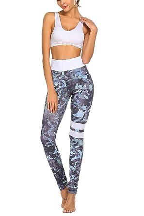 9357cda6d30c01 Parabler Damen Blumenmuster Leggings Hosen Pants Yoga Workout Fitness  Sporthose Grau EU 36