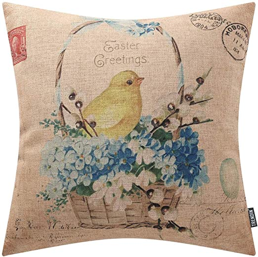 Made in the UK. Double Sided 100/% Cotton Natural Linen Jumping Hare Cushion