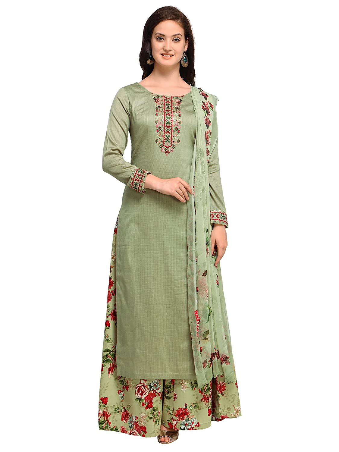 355219a815 AKHILAM Women's Cotton Blend Embroidered Unstitched Salwar Suits Salwar  Suit Material With Palazzo Set (Olive Green_Free Size): Amazon.in: Clothing  & ...