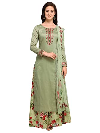 1aea85b62d AKHILAM Women's Cotton Blend Embroidered Unstitched Salwar Suits Salwar Suit  Material With Palazzo Set (Olive Green_Free Size): Amazon.in: Clothing & ...