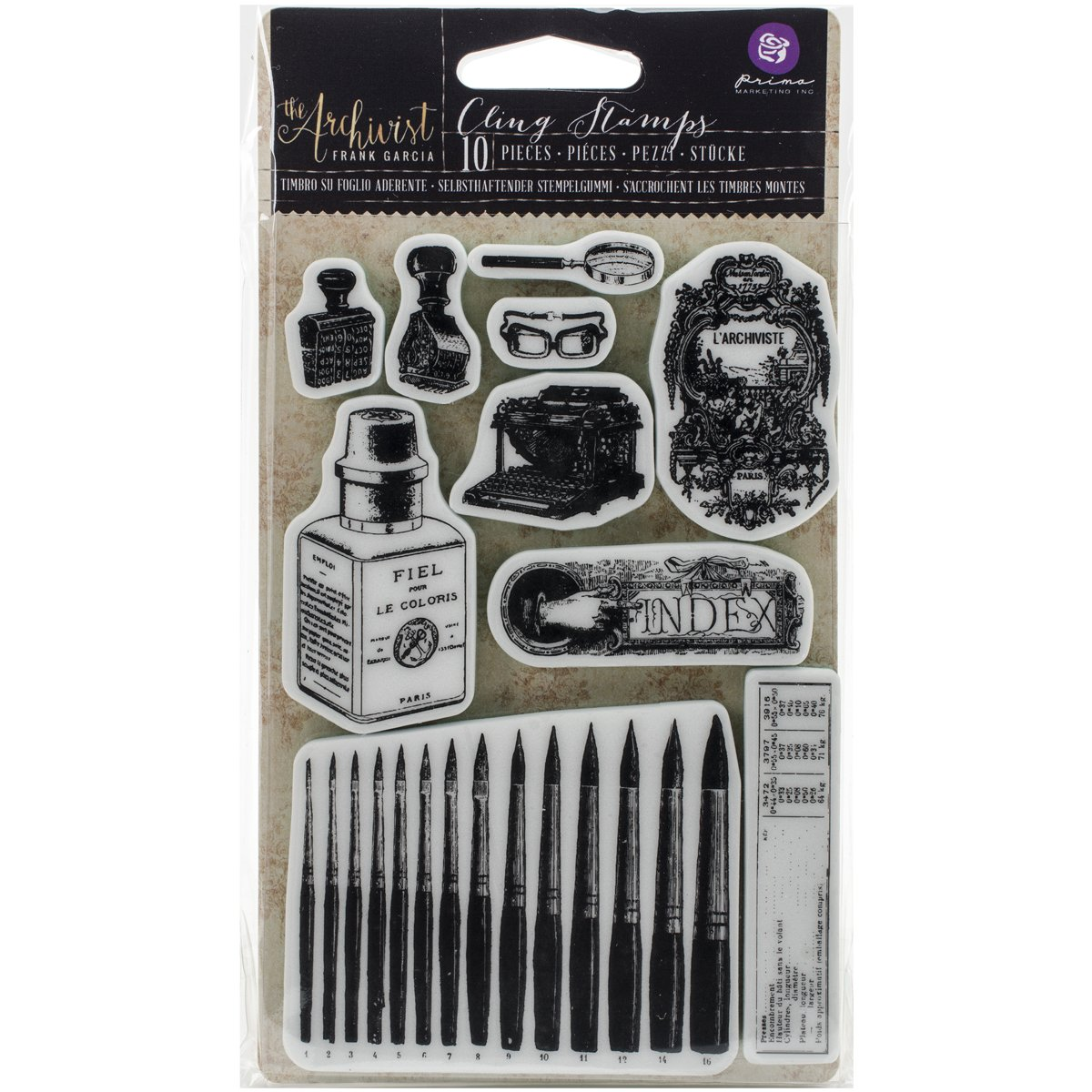 Prima Marketing The Archivist Cling Rubber Stamps, 4 x 6 4 x 6 579159