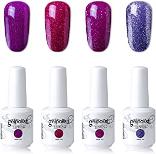 Elite99 UV LED Gel Nail Polish Varnish 15ML Soak off Nail Art Manicure Set 4 Colors with (20pcs Gel Remover Wraps) C177
