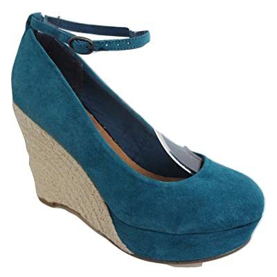 Moda In Pelle Aqua Bleu Turquoise en daim cheville sangle Chaussures Wedge Cour