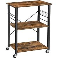 VASAGLE keukenplank op wieltjes, serveerwagen met 3 planken, magnetronplank, voor mini-oven, broodrooster, waterkoker…