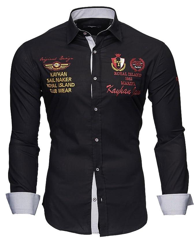 ff1fc0661a38 Opinioni per Kayhan Originale Uomo Camicia Slim Fit Facile