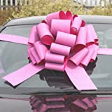 MEGA GIANT CAR BOW (16 inch) + 6 METRES of RIBBON for Cars, Bikes, Big Birthday & Christmas Gifts - GLITTER PINK